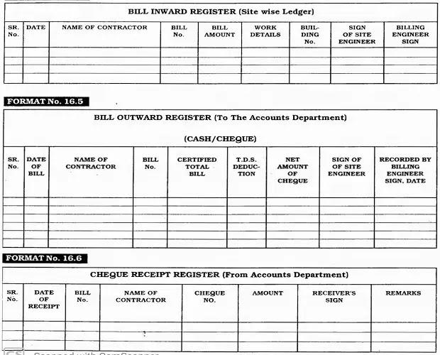 Bill inward register