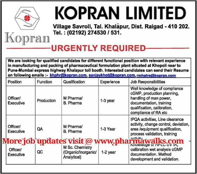 Urgent job openings in Production / QA / QC @ Kopran Limited
