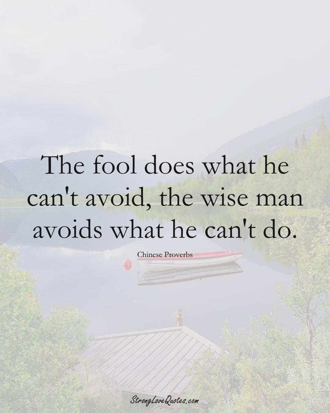 The fool does what he can't avoid, the wise man avoids what he can't do. (Chinese Sayings);  #AsianSayings