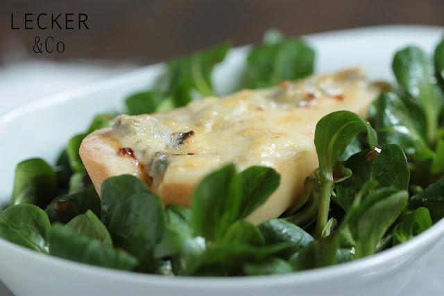 Gorgonzola, Birne, Feldsalat, Honig, Salat, Überbacken, Überbackenen Birne, Gorgonzola Birne