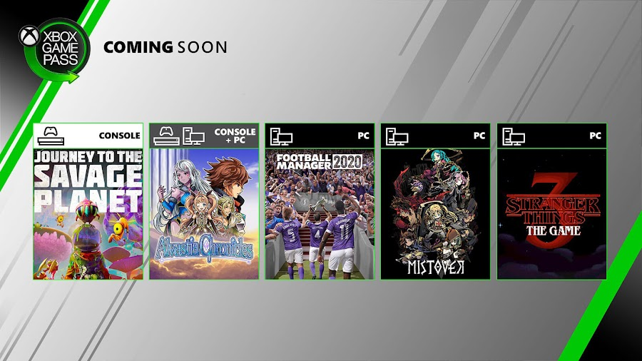 xbox game pass alvastia chronicles football manager 2020 journey to the savage planet mistover nier: automata stranger things 3: the game totally reliable delivery service xb1 2020