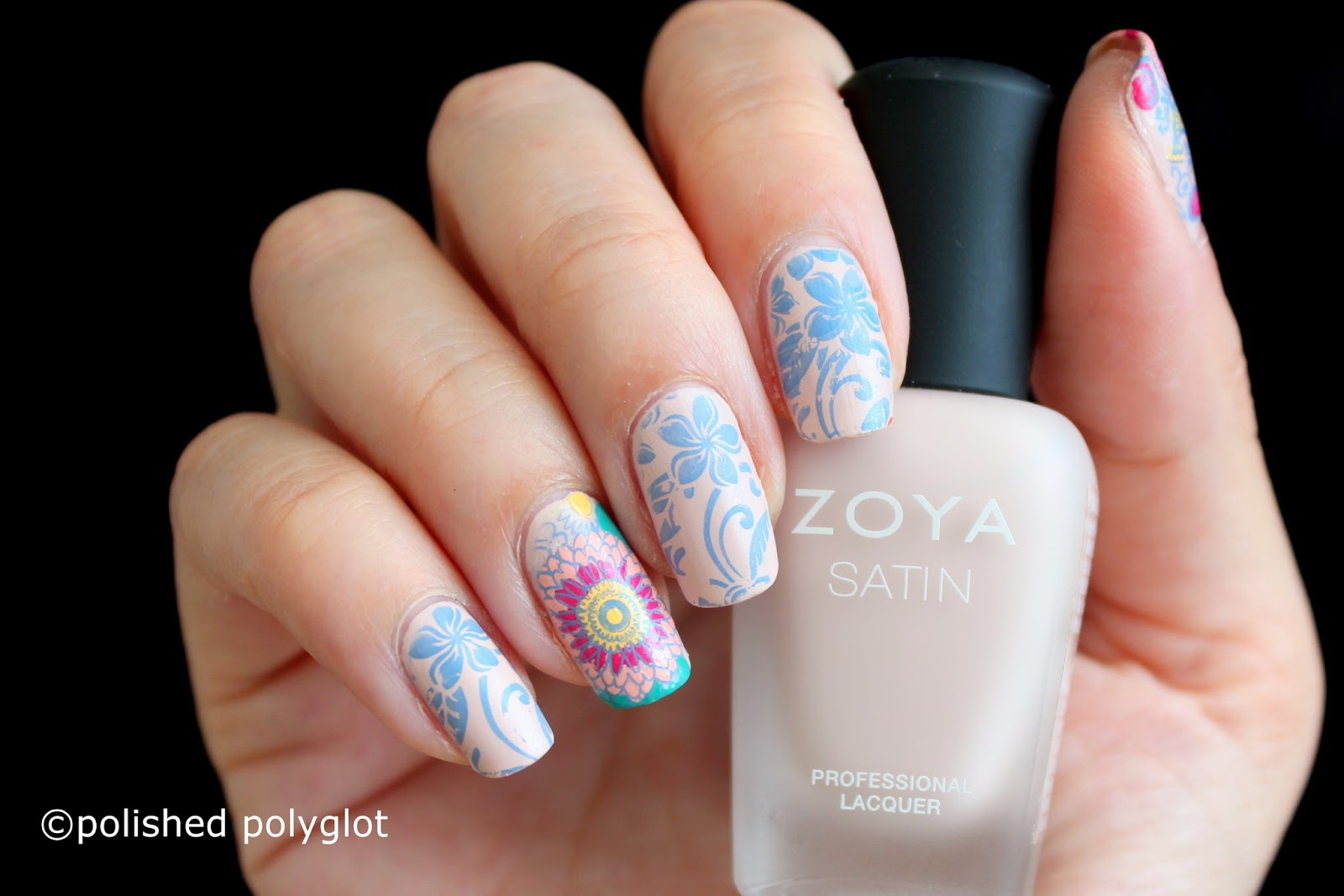 Nail art │Floral design using Born Pretty Store stamping plates ...