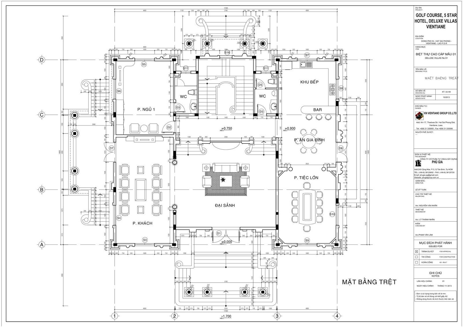 Mặt bằng tầng trệt Biệt thự cổ điển 3 tầng