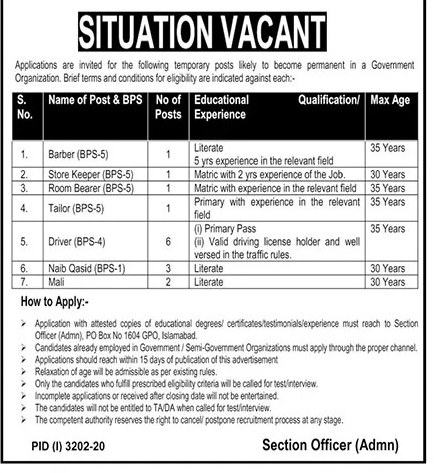 Government Organization P.O Box No. 1604 Jobs 2021