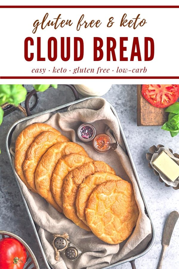 This is the best low carb cloud bread! It's super easy and doesn't use cream cheese or cream of tartar. It's perfect to use as a base for keto sandwiches or desserts like gluten free strawberry shortcake. #creativegreenliving #creativegreenkitchen #keto #lowcarb #glutenfree #cloudbread