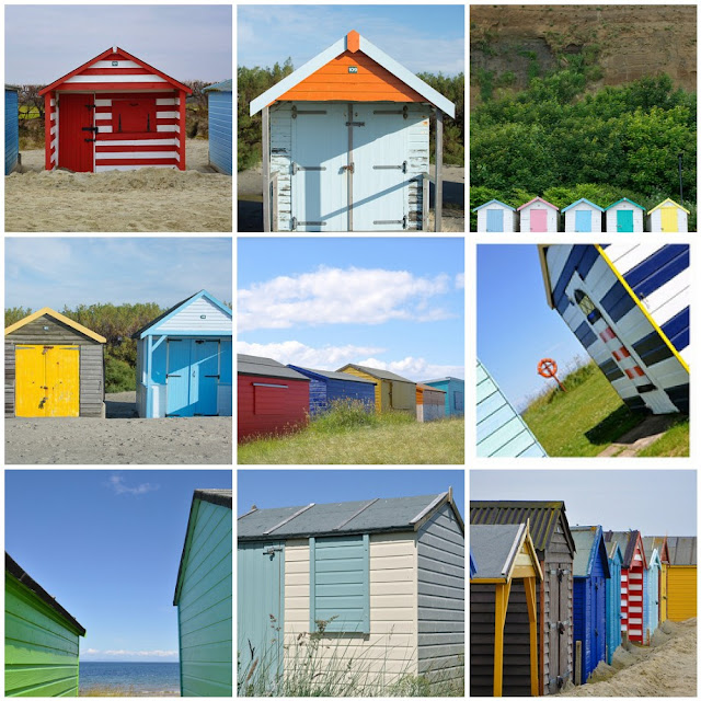 a collection of beach hut photos