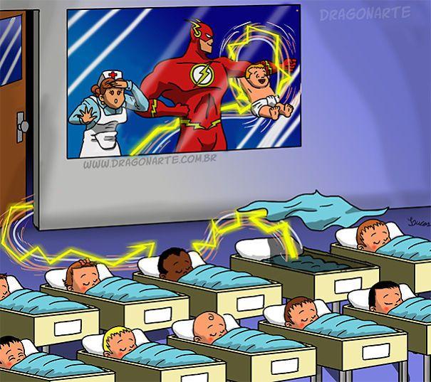 Flash's Basy,ابطال خارقون مع أطفالهم