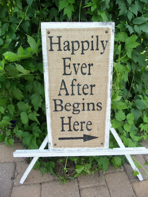 happily ever after burlap sign