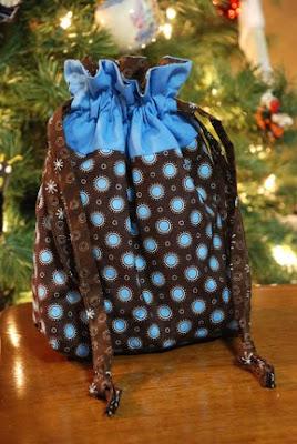 cloth sewn gift bags blue brown
