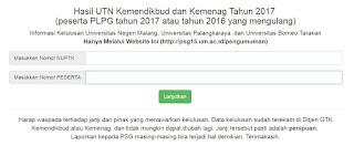 Website pengumuman hasil UTN 2017