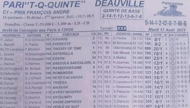 Pronostic quinté+ mardi-Turf TV-100 % 17/08/2021