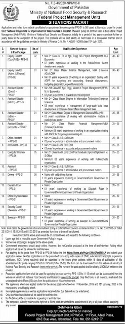Jobs in minstery of food security and research project based jobs