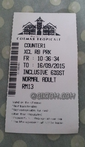 Bayaran tiket masuk dewasa ke Bukit Tinggi (Colmar Tropicale)