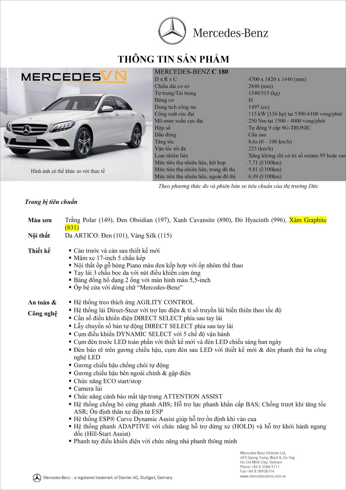 Bảng thông số kỹ thuật Mercedes C180 2021