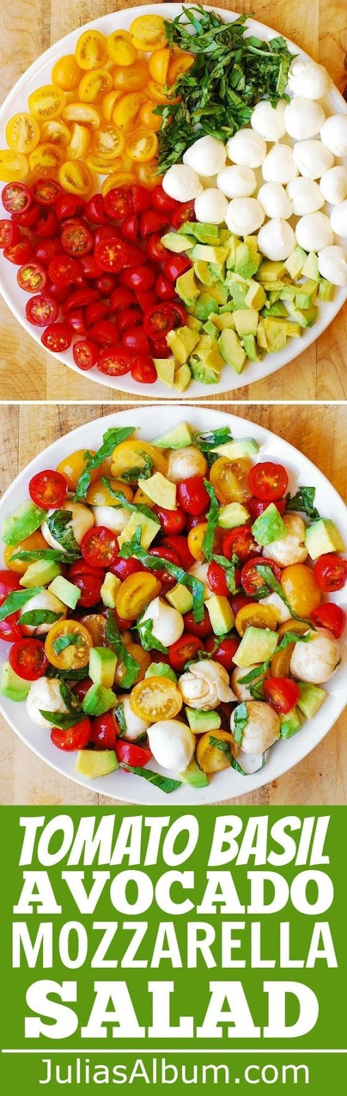 This recipe is simple and uses just a few ingredients: tomatoes, fresh basil, avocado, Mozzarella cheese, and easy homemade balsamic dressing.  Healthy and delicious!   Makes a great side dish to all kinds of grilled meats and fish