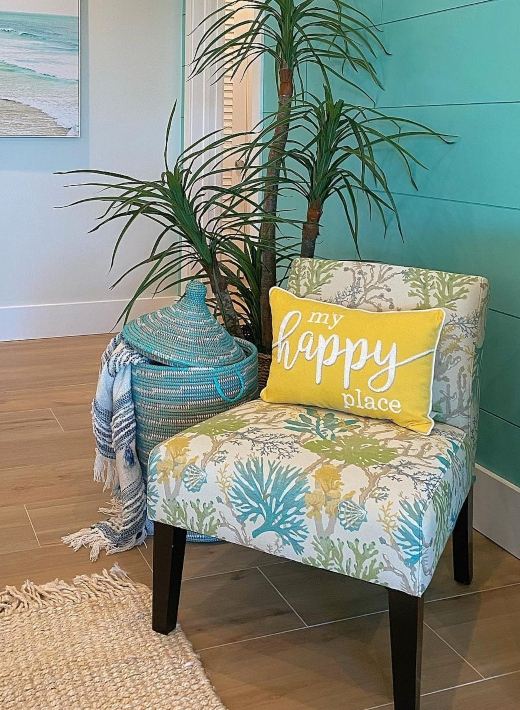 Upholsterd Accent Chair Armless Coastal Fabric Coral Under the Sea