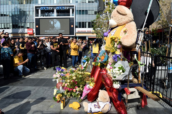 Thousands of people showed up at L.A. Live to visit the memorials set up to honor Kobe Bryant, his daughter Gigi and their seven fellow passengers...on January 27, 2020.