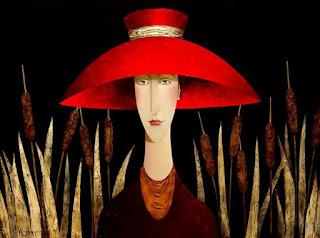 cuadros-de-mujeres-con-sombrero-rojo-modernos