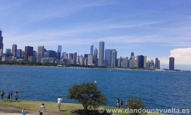 Chicago a orilla del lago Michigan, vista desde el planetario