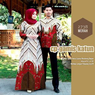 BAJU BATIK COUPLE MODEL GAMIS KATUN HALUS RESLETING DEPAN T2738