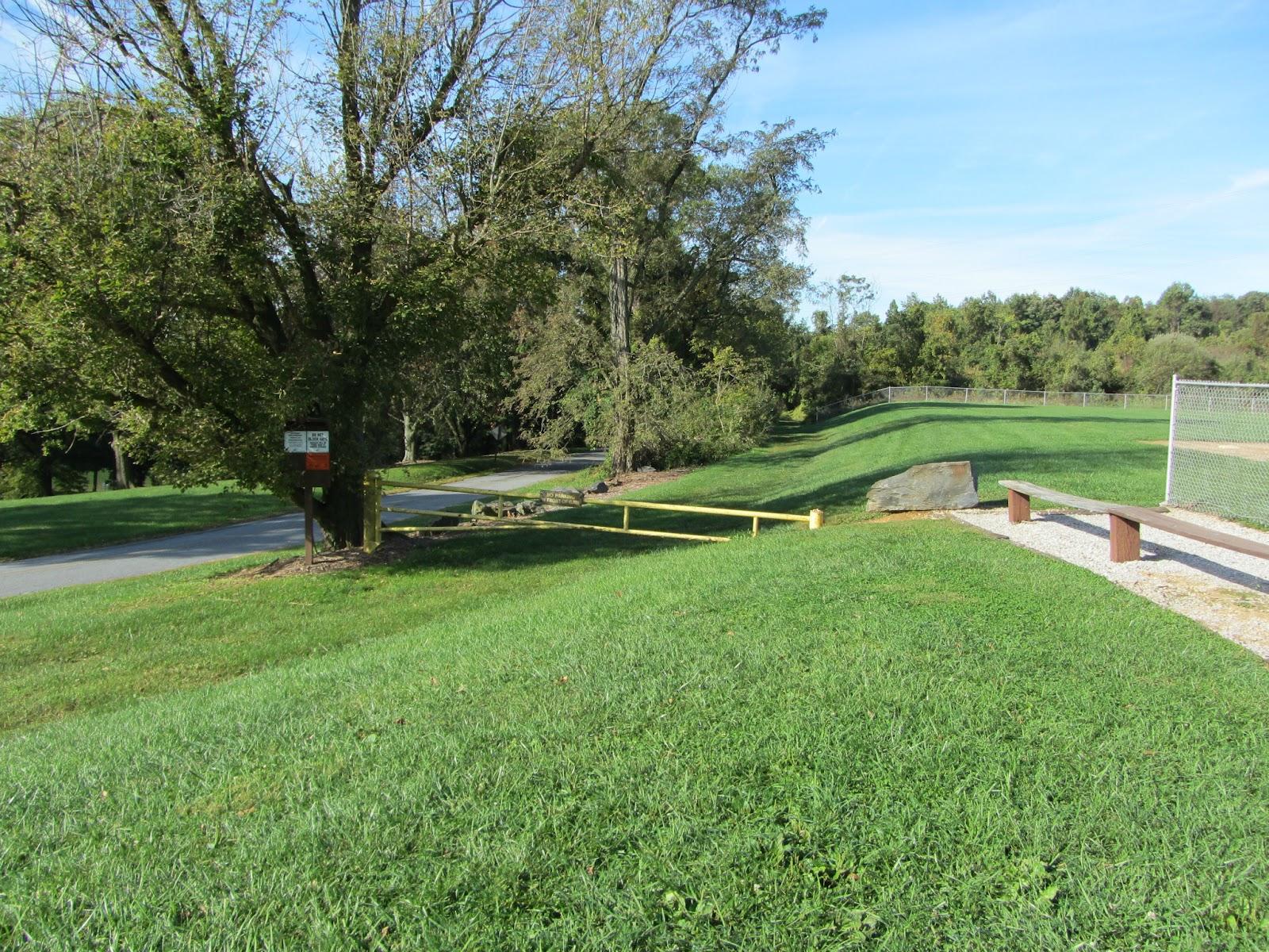 The start of Kelly's Run Trail near the baseball diamond
