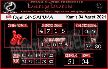 Prediksi Bangbona SGP Kamis 04 Maret 2021
