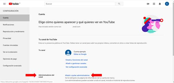 como añadir usuarios y administrar usuarios en youtube