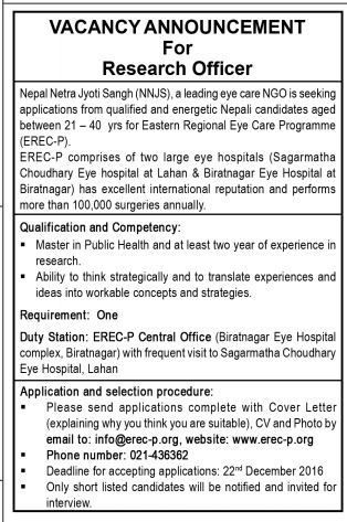 Research Officer - Nepal Netra Jyoti Sangh (22nd Dec 2016)