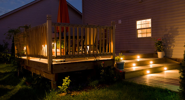 Step lighting on a deck provides a safer environment in the dark.