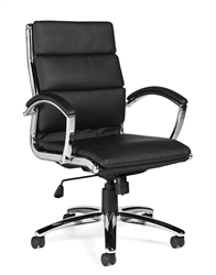 Leather Office Chair with Chrome Frame