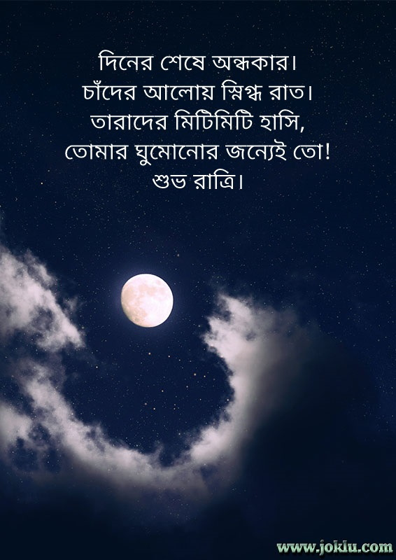 Moon and stars good night message in Bengali