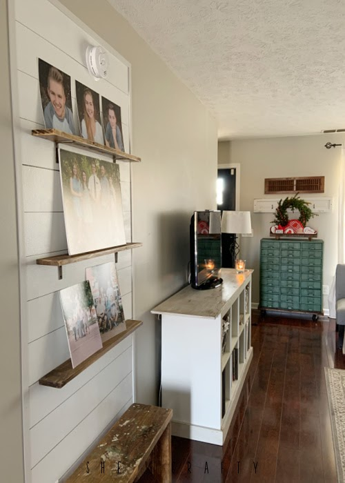 Farmhouse living room with sharpie shiplap accent wall