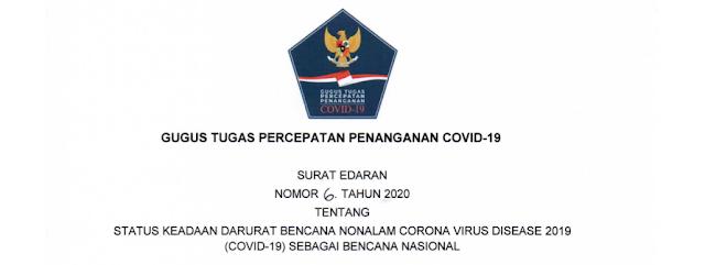 Surat Edaran (SE) Gugus Tugas Percepatan Penanganan Covid-19 Nomor 6 Tahun 2020