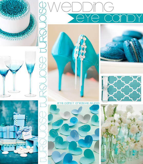 cake, wine glasses, gifts, flowers, turquoise heels, macarons, placemats
