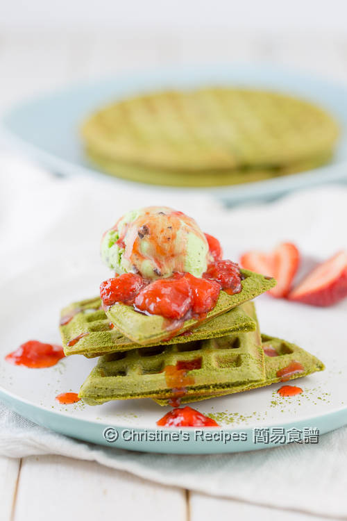 Matcha waffles with strawberry sauce tutorial video christines matcha waffles01 forumfinder Choice Image