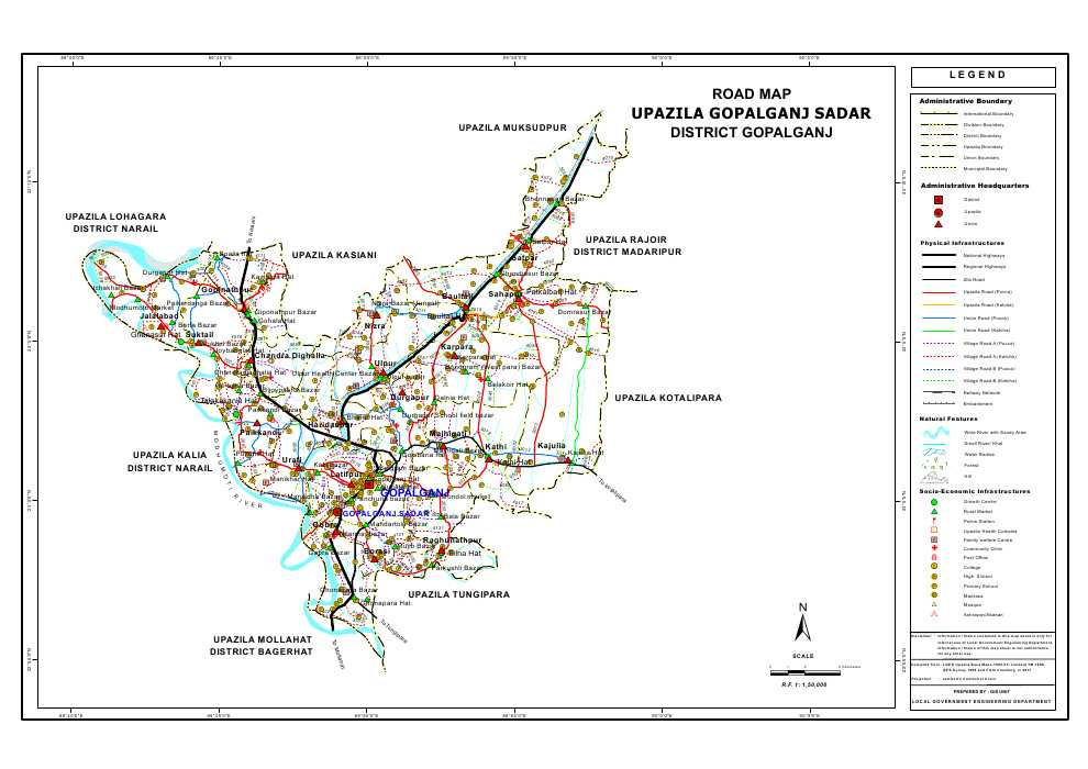 Gopalganj Sadar Upazila Road Map Gopalganj District Bangladesh