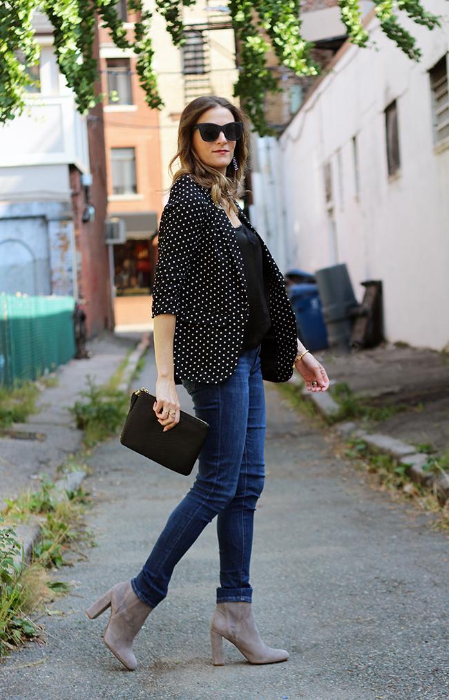 how to style a polka dot blazer