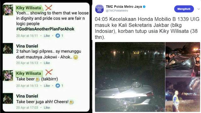 Tewasnya Ahoker Pengolok-olok Takbir Jadi Viral, Akun Polda Metro Hapus Tweet Kecelakaan Kiky Wilisata