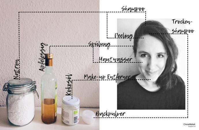 4 Beautyhelfer aus deinem Küchenschrank mit Natron, Backpulver, Kokosöl und Apfelessig zur Körperpflege und Gesichtspflege wie Haare waschen, Trockenshampoo, Abschminken, Gesichtswasser, Peeling