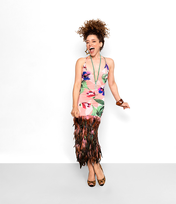 Feathered floral dress