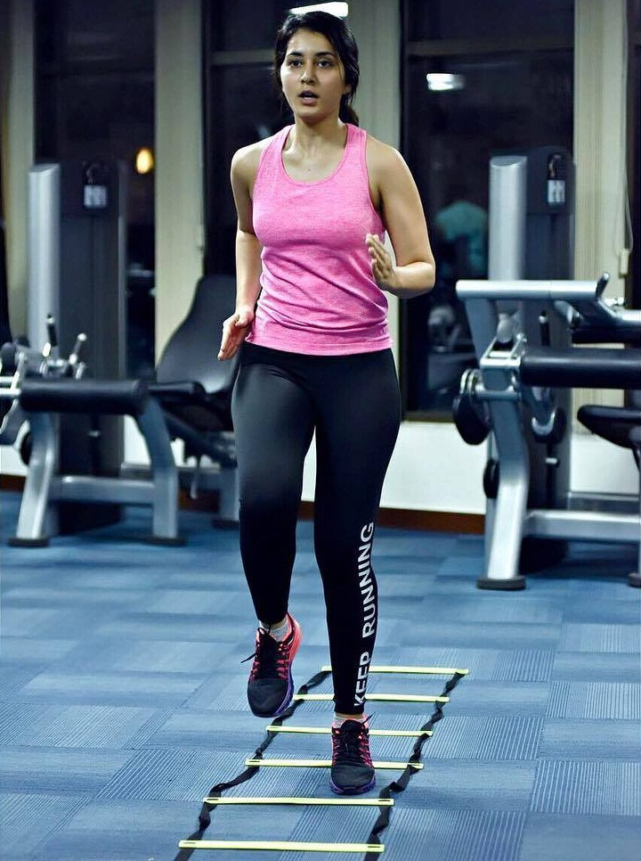 Beautiful Tollywood Actress Rashi Khanna Workout Fitness Stills In Gym