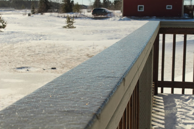 Ice on the deck rail