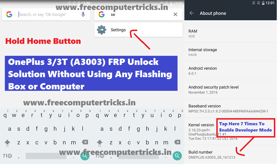 OnePlus 3/3T (A3003) FRP Unlock Solution Without Using Any