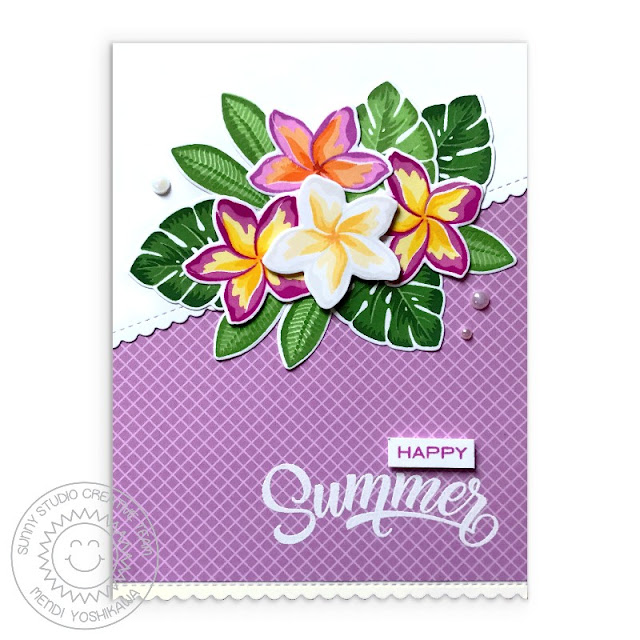 Sunny Studio Blog: Happy Summer Handmade Card by Mendi Yoshikawa (using Radiant Plumeria Stamps, Gingham Pastels Paper & Frilly Frames Stripes Dies)