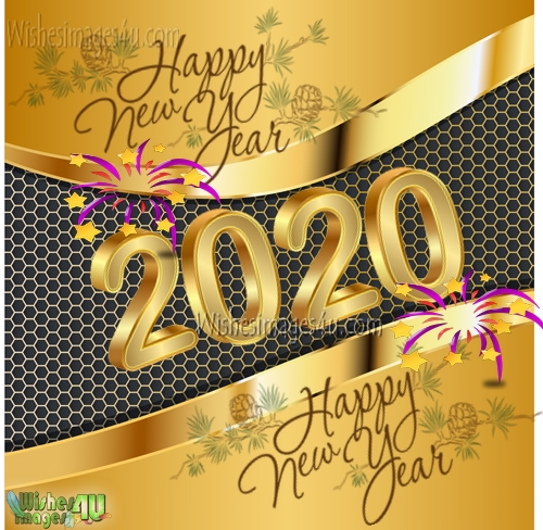 Happy New Year 2020 HD Golden Photo Greetings