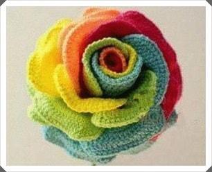 Tığ işi Renkli Gül Çiçeği Yapımı, Resimli Açıklamalı