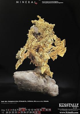 minerales, calendario, oro
