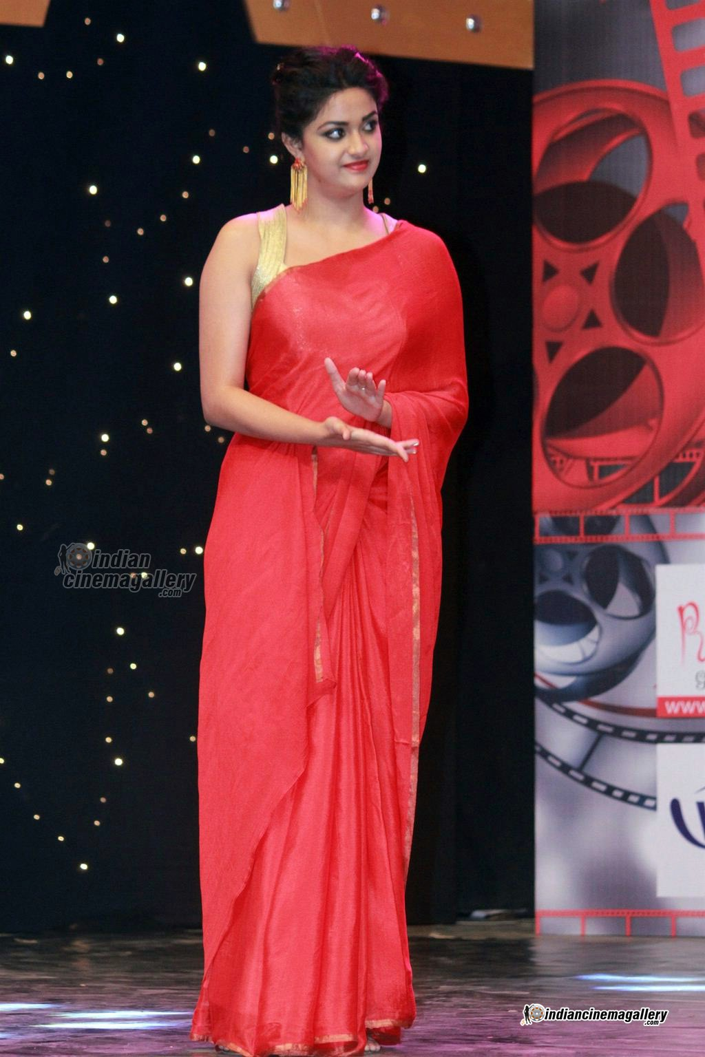 Actress Keerthy Suresh in Transparent saree stills, hot pics