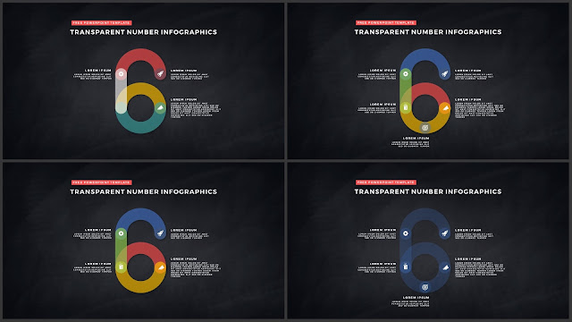 Infographic Transparent Design Elements for PowerPoint Templates in Dark background using Number 6