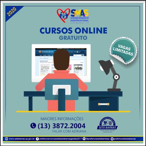 """Prefeitura  de Sete Barras abre vagas para cursos gratuitos de qualificação """"online""""."""